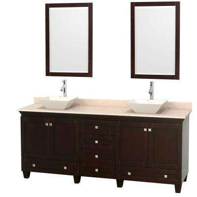 Acclaim 80 in. W Double Vanity in Espresso with Marble Vanity Top in Ivory, Bone Sinks and 2 Mirrors