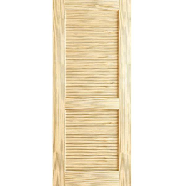 24 in. x 80 in. Louvered Solid Core Unfinished Wood Interior Door Slab