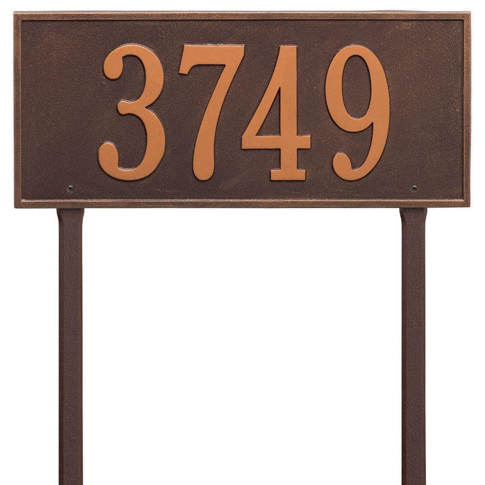 Hartford Rectangular Antique Copper Estate Lawn 1-Line Address Plaque