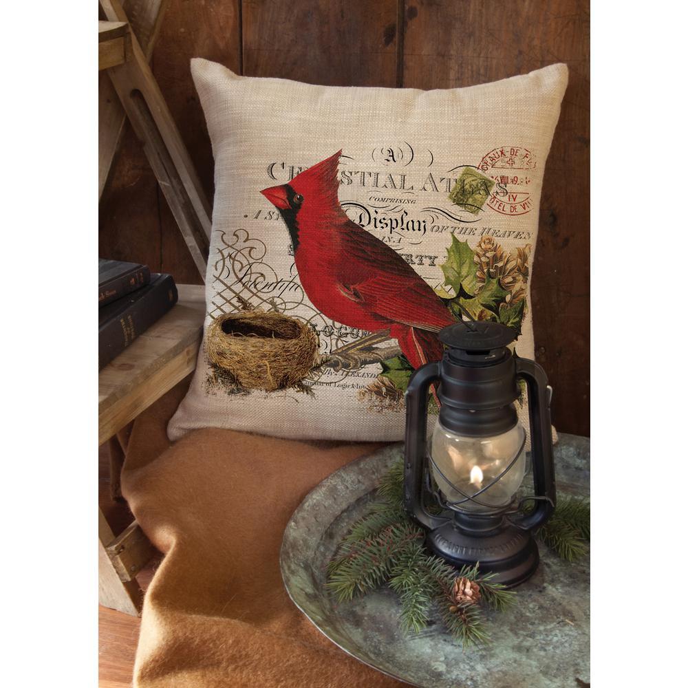 Heritage Lace Winter Garden Natural Cardinal Decorative Pillow ...