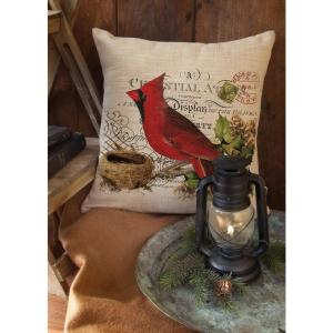Heritage Lace Winter Garden Natural Cardinal Decorative Pillow by Heritage Lace