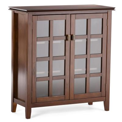 Artisan Solid Wood 38 in. Wide Contemporary Medium Storage Cabinet in Medium Auburn Brown