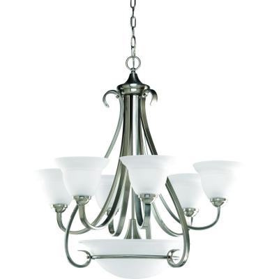 Torino 6-Light Brushed Nickel Chandelier with Etched Glass