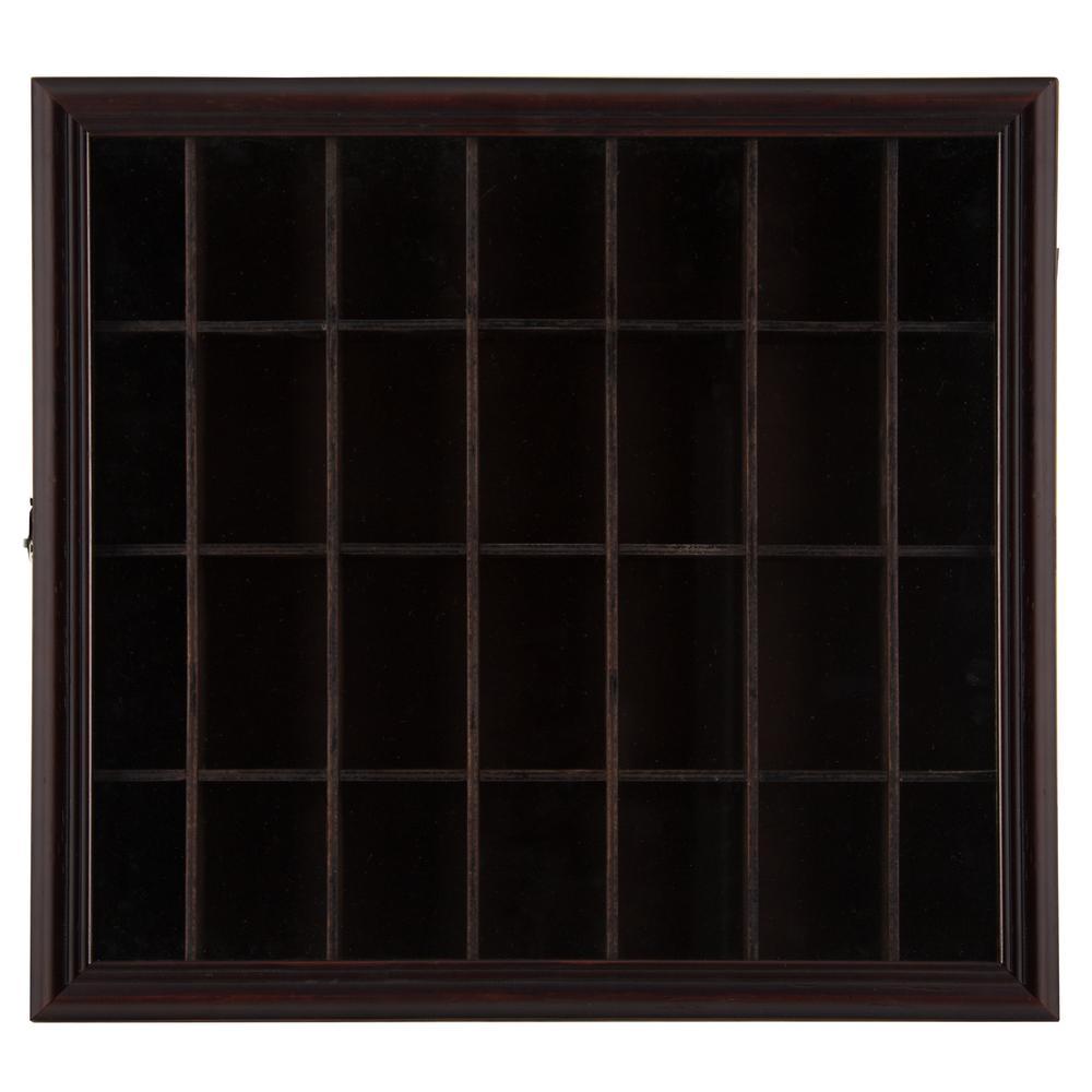 Shot Glass Case 17.9 in. W x 2.7 in. D Walnut Decorative Shelf
