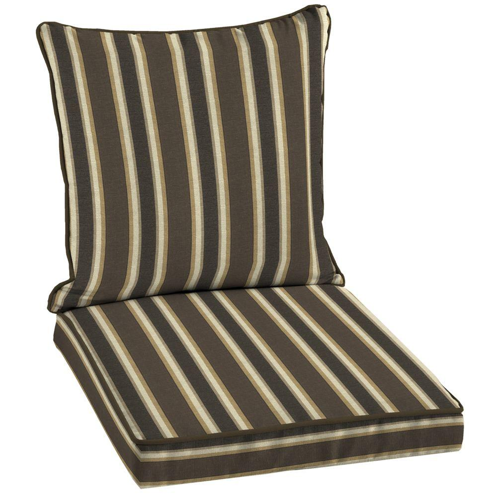 Hampton Bay Rea Stripe Welted 2-Piece Deep Seating Outdoor Dining Chair Cushion Set