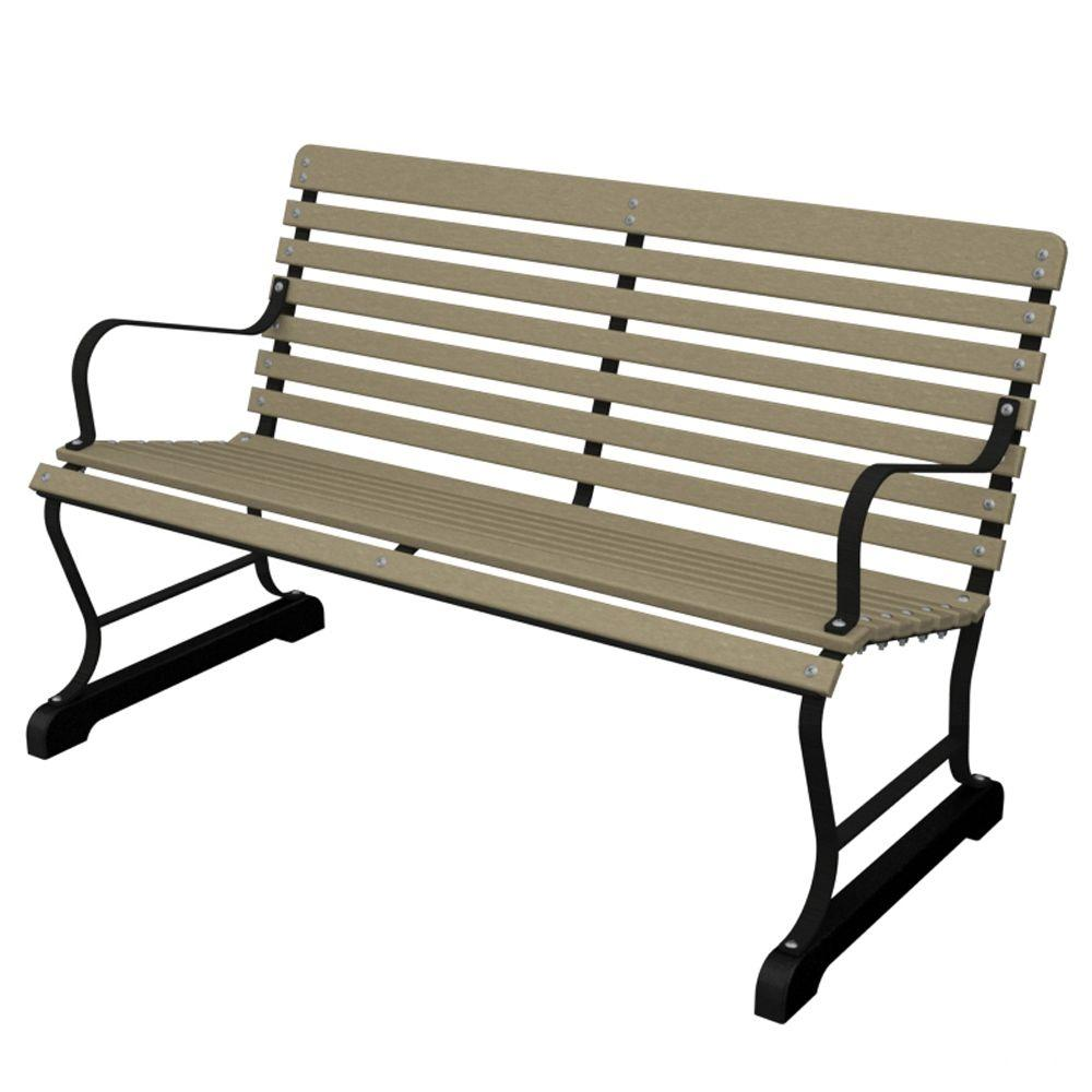 47 in. Vintage Black/Sand Patio Bench