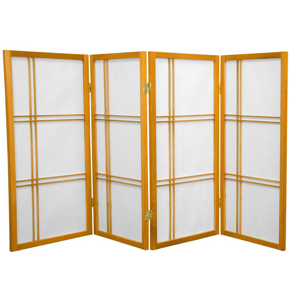 Oriental Furniture 3 ft. Honey 4-Panel Room Divider DC36-HON-4P