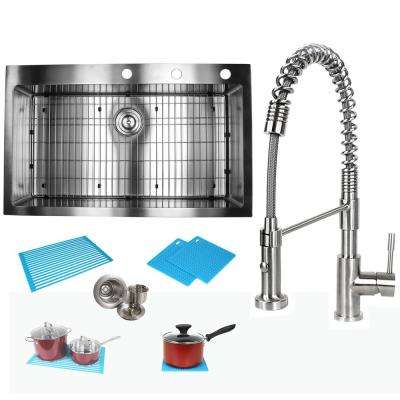 Topmount Drop-In 16-Gauge Stainless Steel 36 in  x 22 in  x 10 in  Single  Bowl Kitchen Sink and Faucet Combo