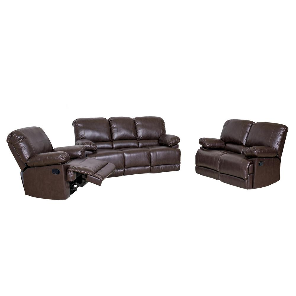 Corliving Lea 3 Piece Chocolate Brown Bonded Leather Reclining Sofa Set