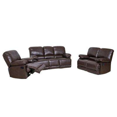 Elegant Lea 3 Piece Chocolate Brown Bonded Leather Reclining Sofa Set