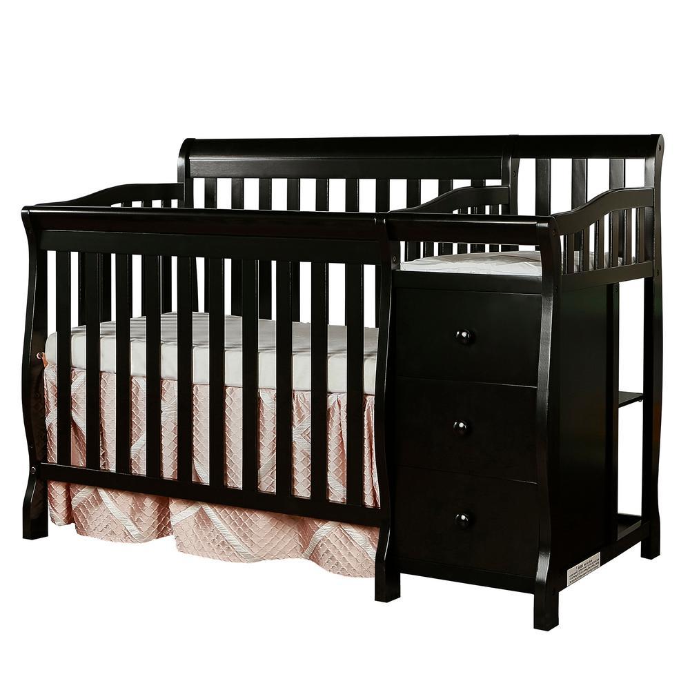 Jayden Black 4-in-1 Mini Convertible Crib and Changer