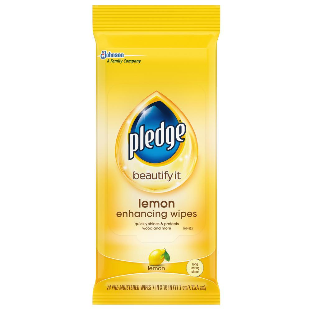 Pledge 24-Count Lemon Clean Pre-Moistened Wipes (12 per Case)