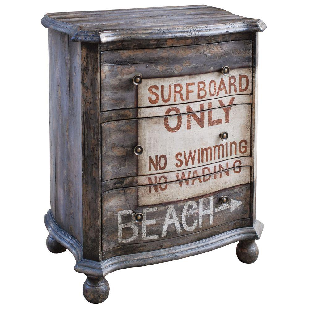 Pulaski Furniture 3-Drawer Hand Painted Surf Beach Chest in Driftwood
