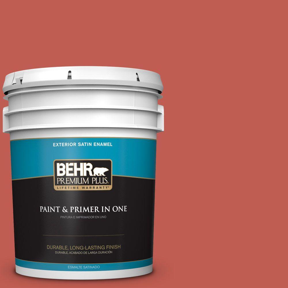 BEHR Premium Plus 5-gal. #190D-6 Red Jalapeno Satin Enamel Exterior Paint