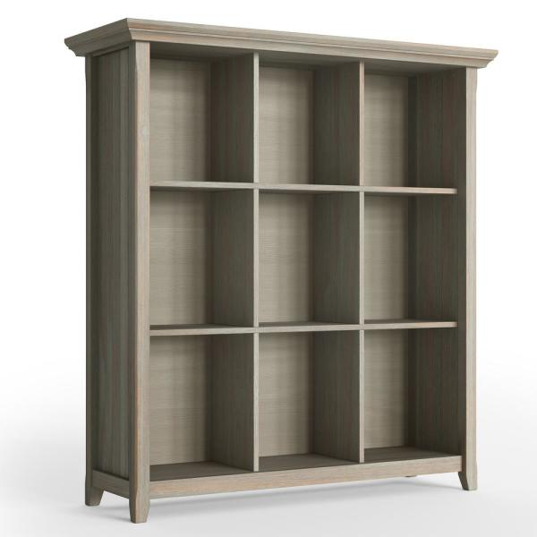 Acadian Solid Wood 48 in. x 44 in. Rustic 9 Cube Bookcase and Storage Unit in Distressed Grey