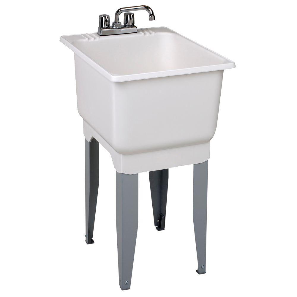 Utilatub Combo 18 in. x 23.5 in. x 33 in. Co-Polypure Floor Mount Laundry Tub