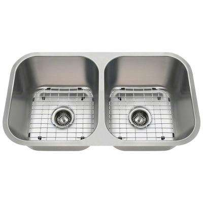Polaris Sinks Undermount Stainless Steel 32 In Double Bowl Kitchen Sink Kit Pa8123 Ens The Home Depot
