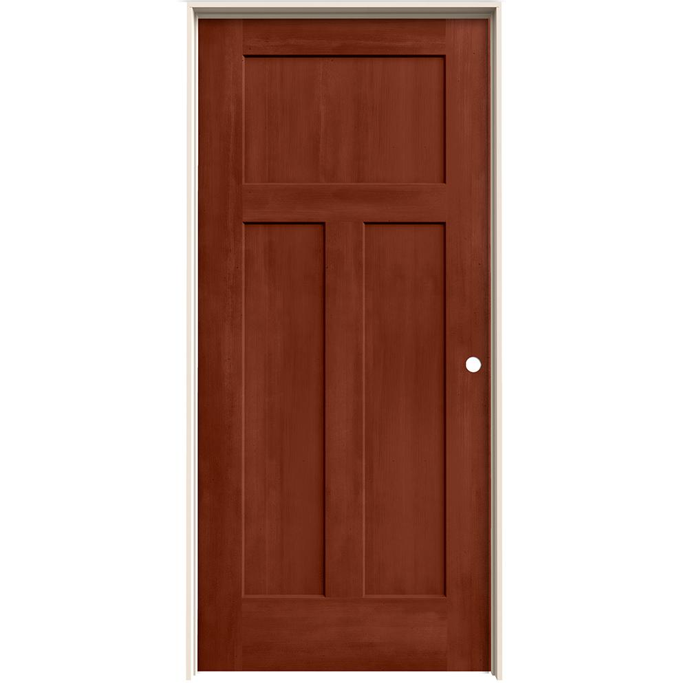 home depot jeld wen interior doors jeld wen 36 in x 80 in craftsman amaretto stain left 26758