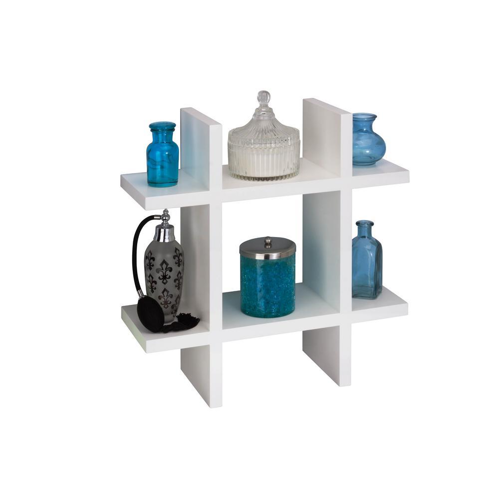 15.75 in. x 5.9 in. Grid Shaped White Wall Shelf Decorative Shelf