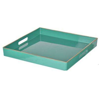 Green Plastic Square Tray With Cutout Handles