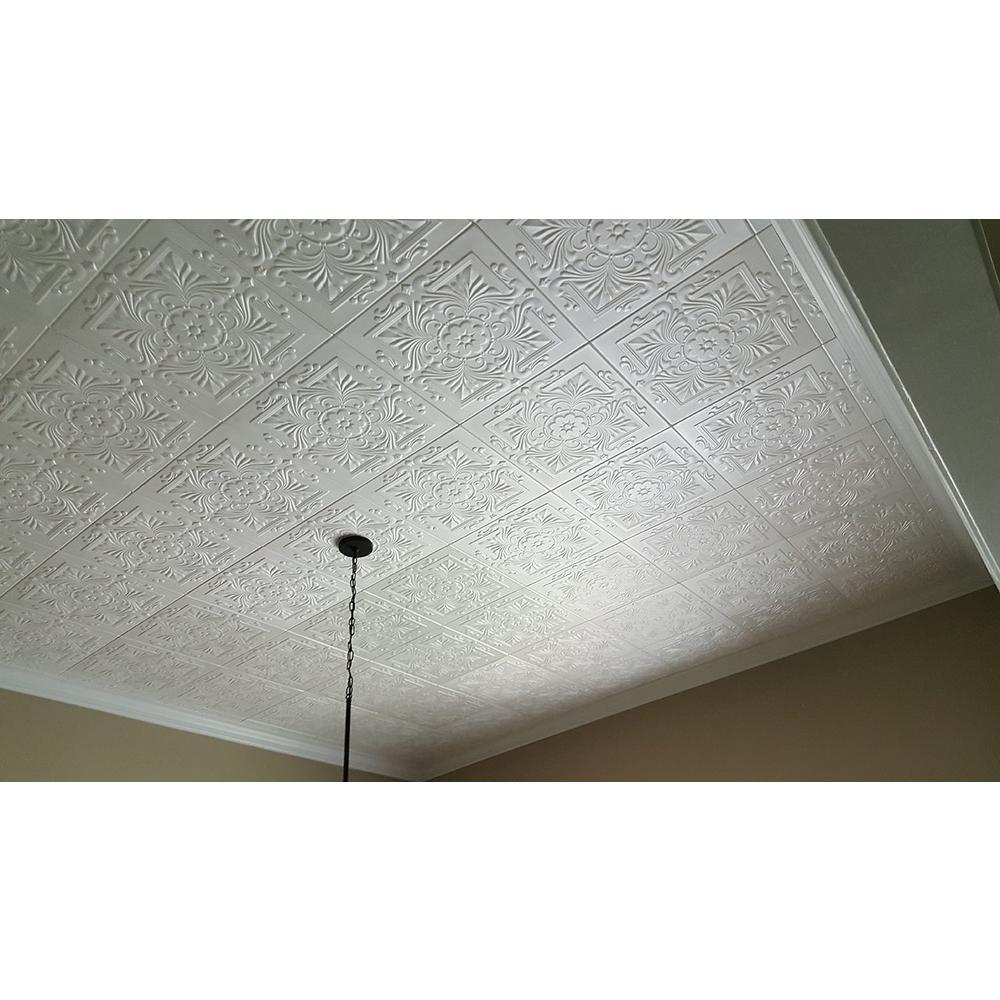 Victorian 1.6 ft. x 1.6 ft. Glue Up Foam Ceiling Tile in Plain White (21.6 sq. ft./case)