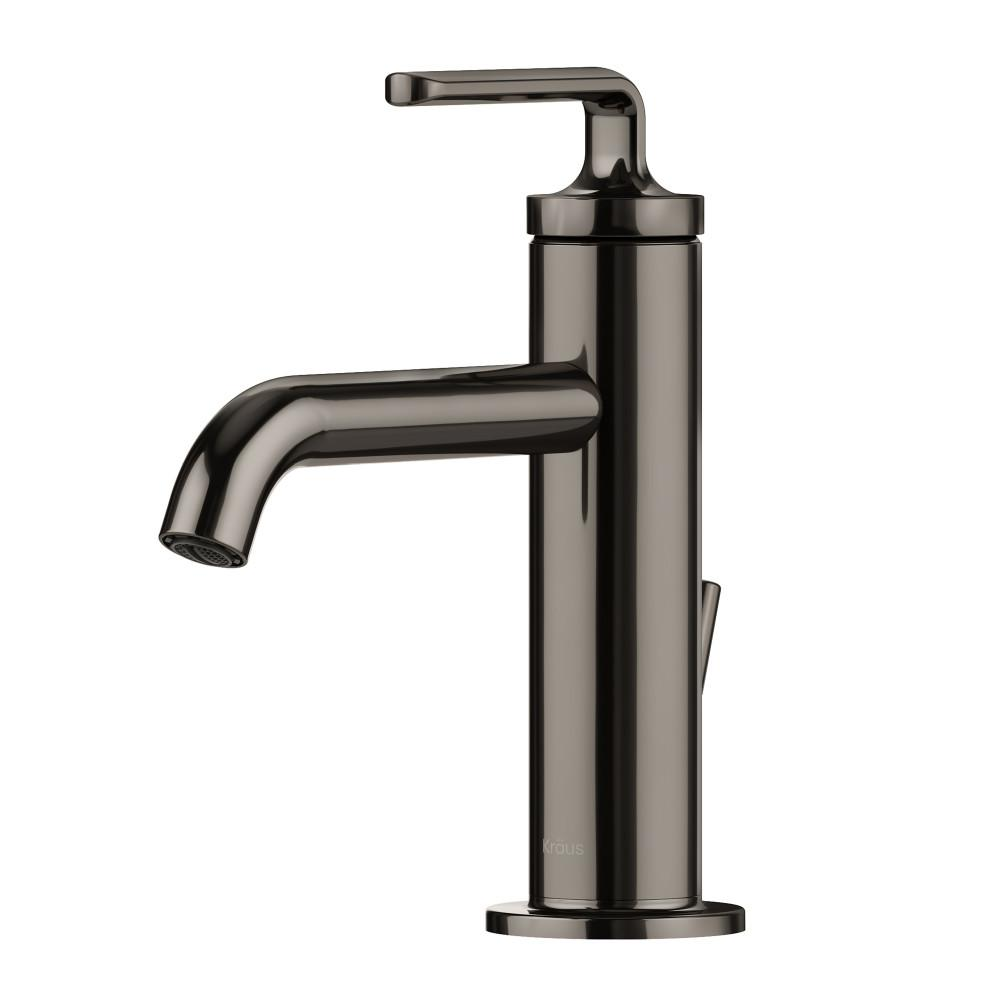 Ramus Single Hole Single-Handle Bathroom Faucet with Matching Lift Rod Drain in Gunmetal