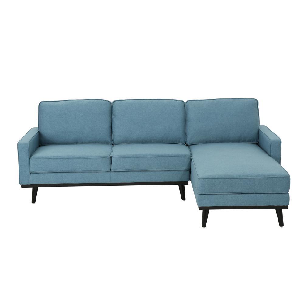 Matilda Mid-Century Modern 2-Piece Blue Fabric Chaise Sectional