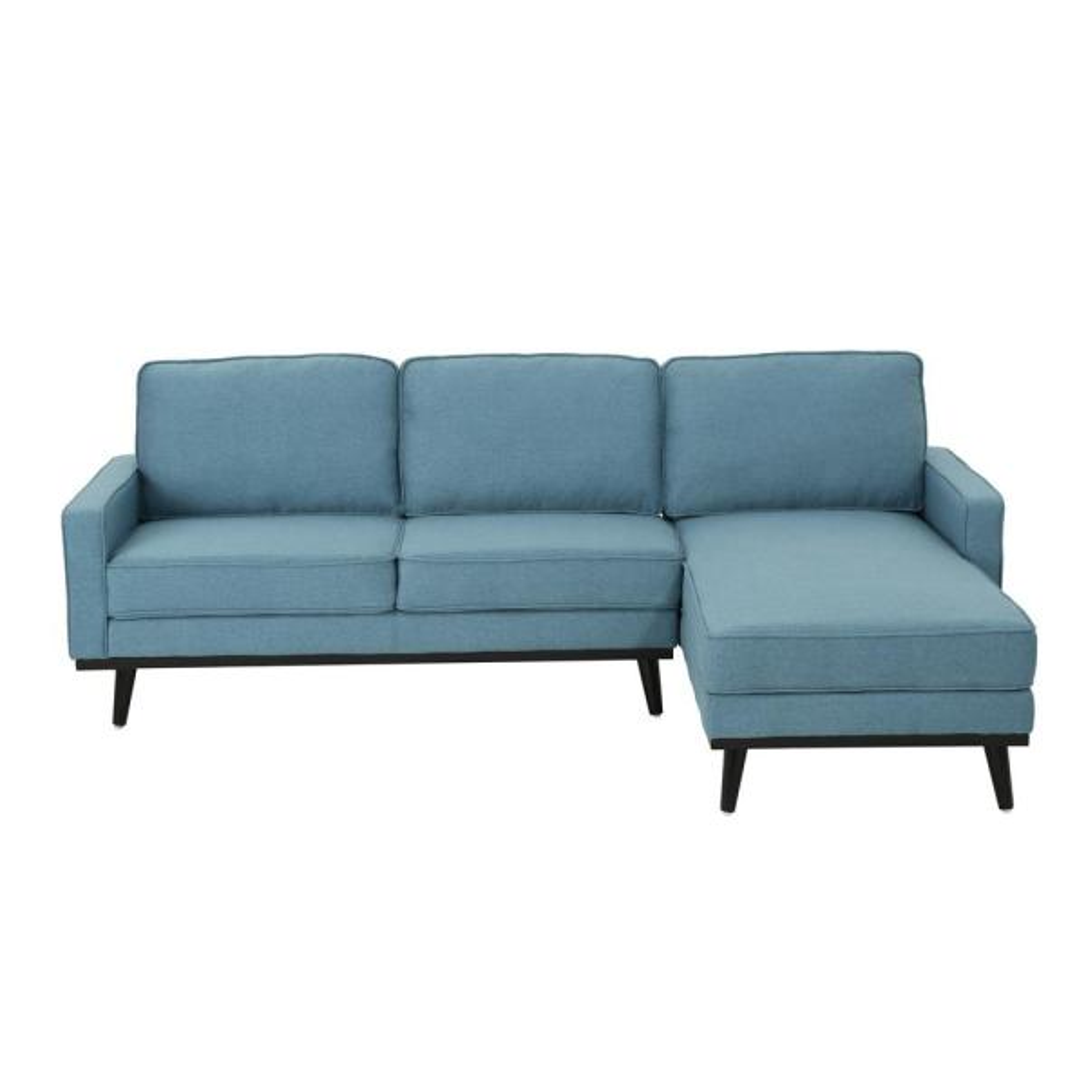 Noble House Matilda Mid-Century Modern 2-Piece Blue Fabric Chaise ...