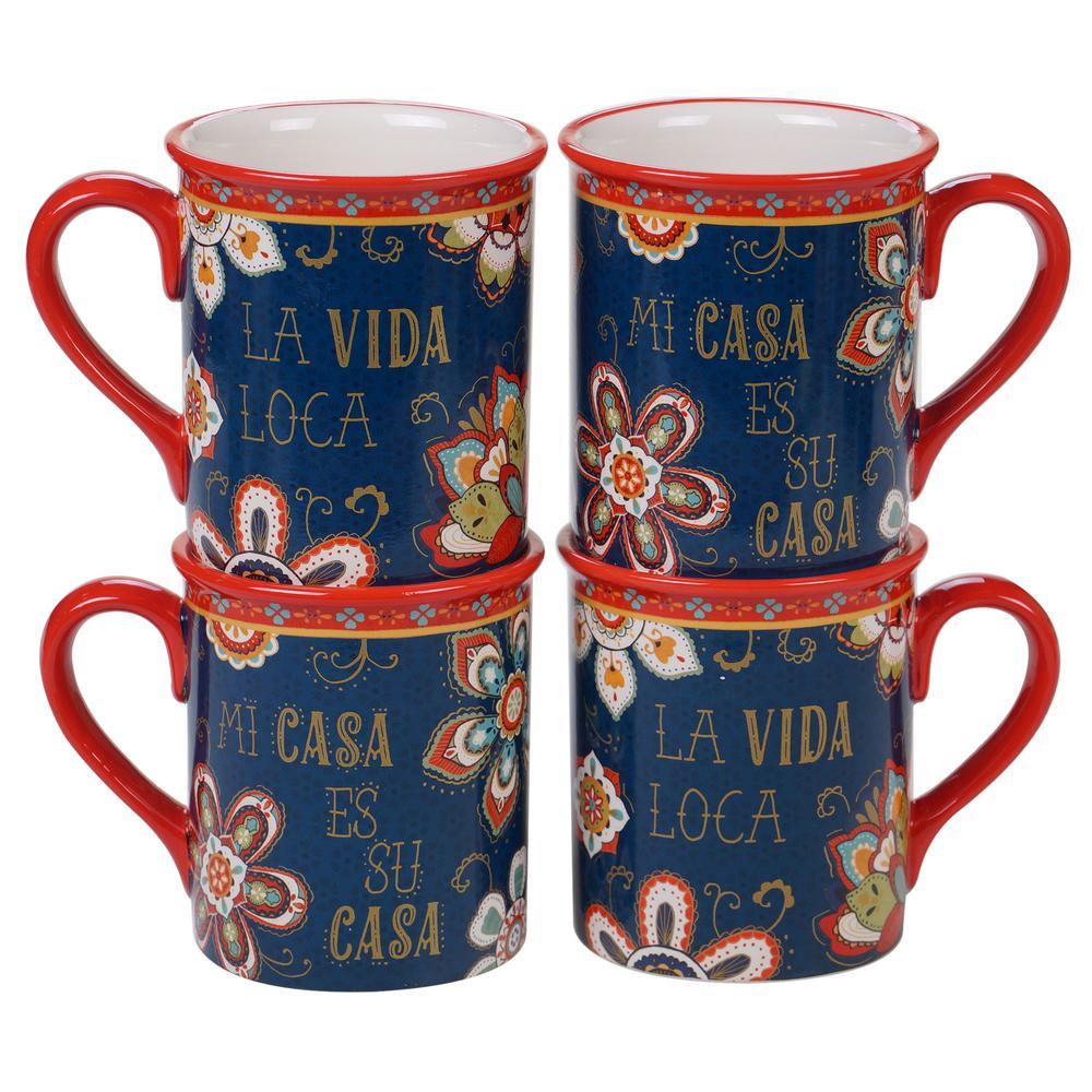 La Vida 4-Piece Country/Cottage Multi-Colored Ceramic 16 oz. Mug Set (Service for 4)