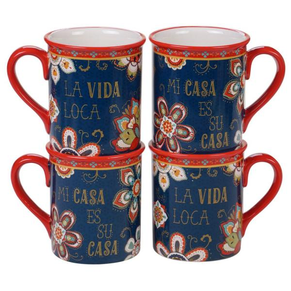 86c478e63df Certified International La Vida 4-Piece Multi-Colored 16 oz. Mug Set  26653SET4