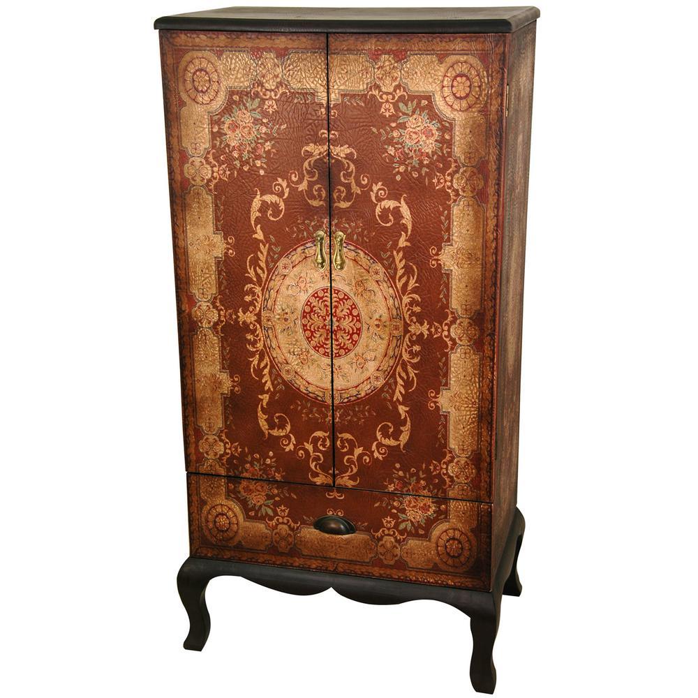 Oriental Furniture Antique Brown Olde-Worlde European Two Door Cabinet