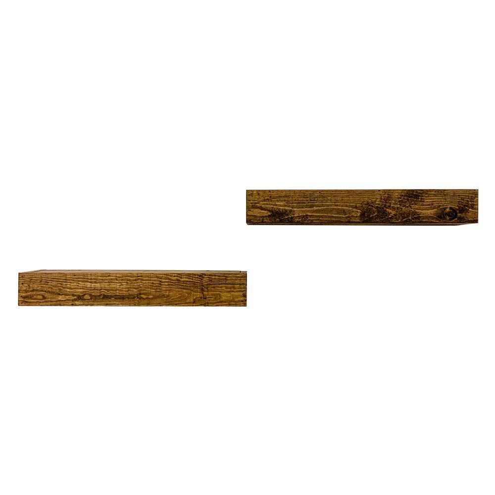 Artisan Haute 6in x 24in x 3.5in Dark Walnut Pine Wood Floating Box Set of Two Decorative Wall Shelf Set