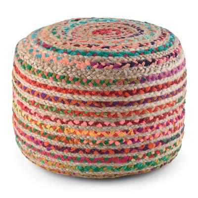 Margo Contemporary Round Pouf in Multi-Color Braided Jute