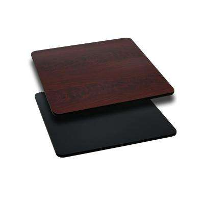 24 in. Square Black and Mahogany Table Top with Reversible Laminate Top