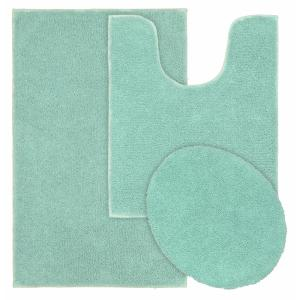 Queen Sea Foam 21 in. x 34 in. Solid Cotton 3-Piece Bath Mat Set