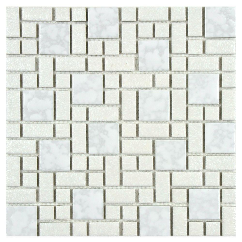 Merola Tile University White 11-3/4 in. x 11-3/4 in. x 5 mm Porcelain Mosaic Tile (9.62 sq. ft. / case)