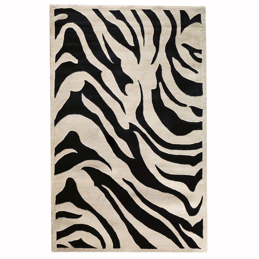Zebra black 4 ft x 6 ft area rug
