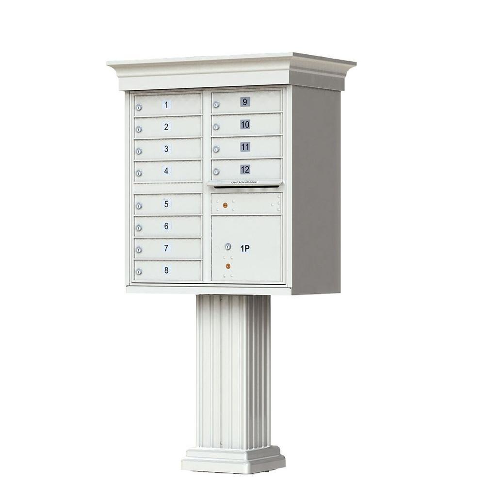 12 Mailboxes 1 Parcel Locker 1 Outgoing Pedestal Mount Cluster Box Unit