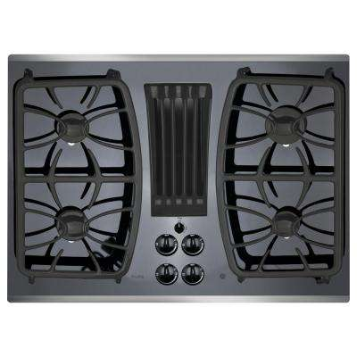 Profile 30 in. Gas-on-Glass DownDraft Gas Cooktop in Stainless Steel with 4 Burners