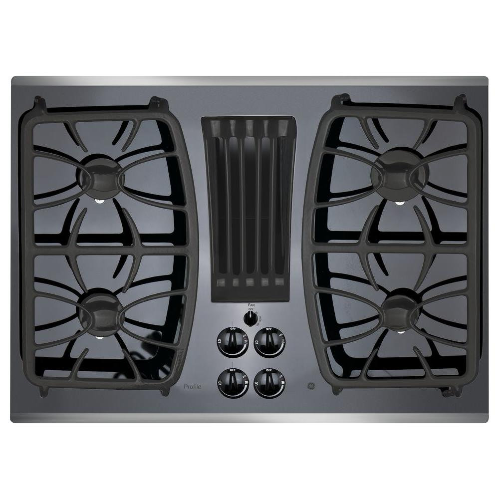 GE Profile 30 in. Gas-on-Glass DownDraft Gas Cooktop in S...