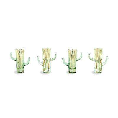 Te Quiero, Tequila Green 2 oz. Cactus Shot Glasses (Set of 4)