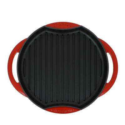 10 in. Red Round French Enameled Cast Iron Grill Pan