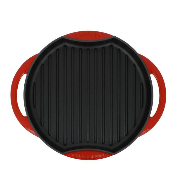 Chasseur 10 in. Red Round French Enameled Cast Iron Grill Pan
