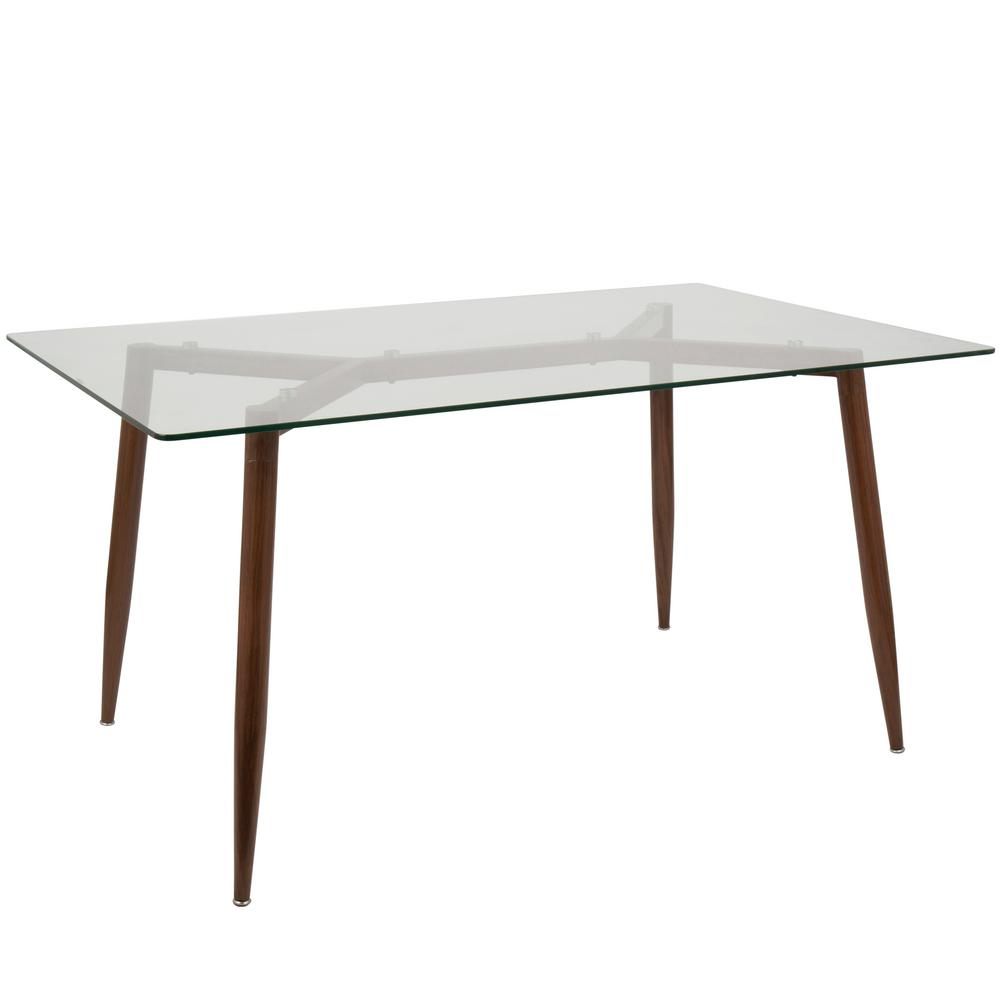 Lumisource clara rectangular walnut with clear dining for Tempered glass dining table