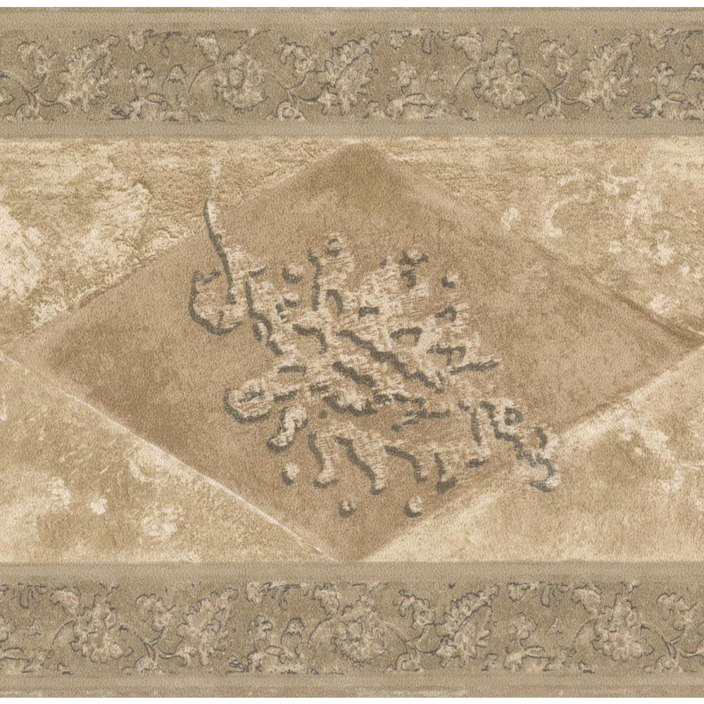 Norwall Brown Beige Abstract Prepasted Wallpaper Border