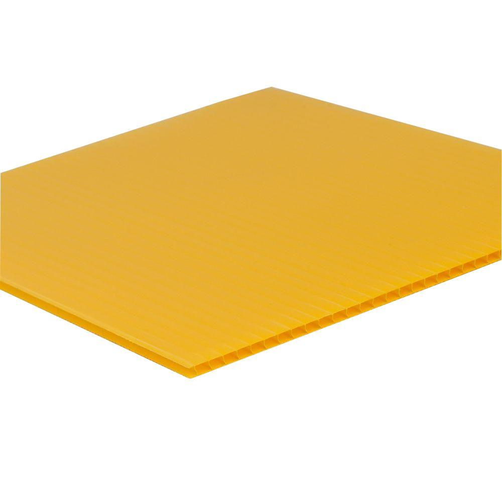 48 in. x 96 in. x 0.157 in. Yellow Twinwall Plastic