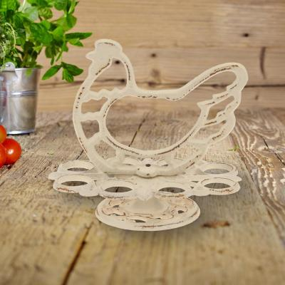 7 in. x 7 in. Weathered White Cast Iron Hen