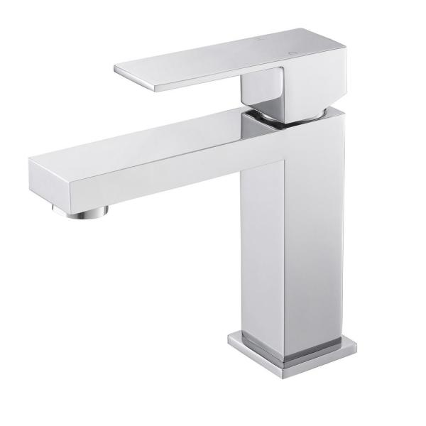 Single Hole Single-Handle Bathroom Faucet with Supply Line in Chrome