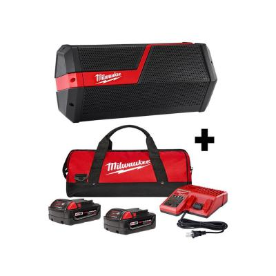 M18/M12 Lithium-Ion Cordless Wireless Jobsite Speaker with Two 4.0 Ah Batteries, Charger and Contractor Bag