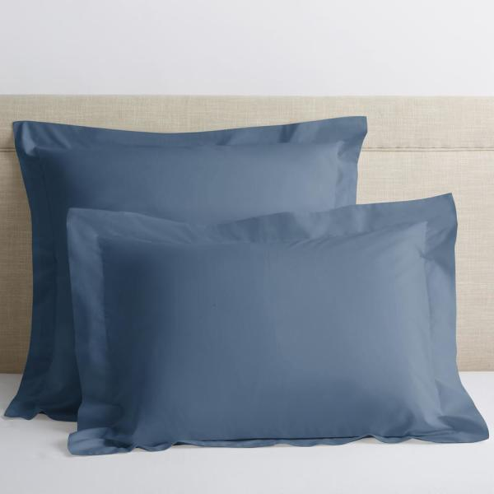 Organic Shadow Blue Solid 300-Thread Count Cotton Percale King Sham